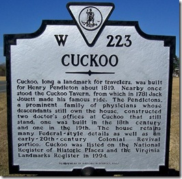 Cuckoo marker W-223 in Lousia County, VA (Click any photo to enlarge)