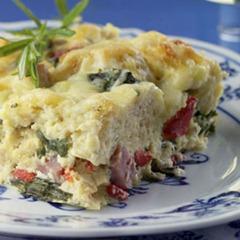 Ham Gruyere Spinach Pudding