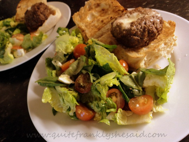 Hello Fresh Mozzarella stuffed burgers