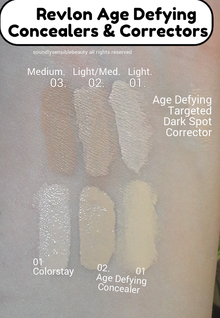 Revlon Age Defying Dark Spot Targeted Corrector Concealer Treatment; Review & Swatches of Shades Light 01, Light Medium 02, Medium 03,