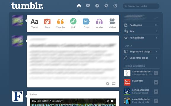 Tumblr - página inicial