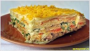"""Салат """"Cлоеный торт"""".  www.samapovar.ru"""