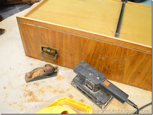 planing and sanding the drawer