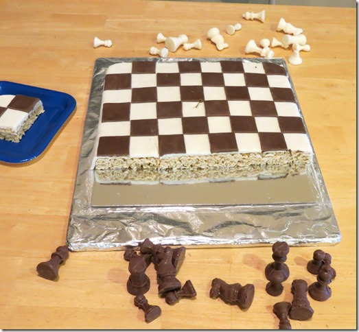Cutting the Chess Board Game Rice Krispies Treat Cake