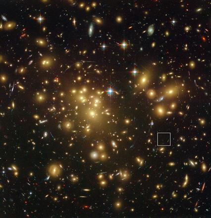 Abell 1689 e a localização da galáxia A1689-zD1