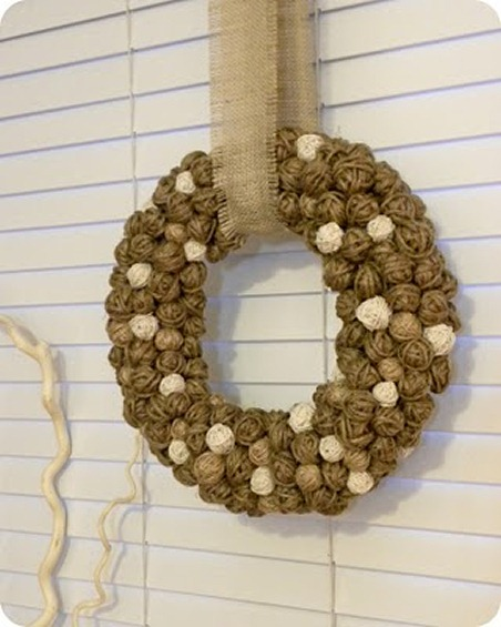 Winter wreath--wreath made from jute and twine balls