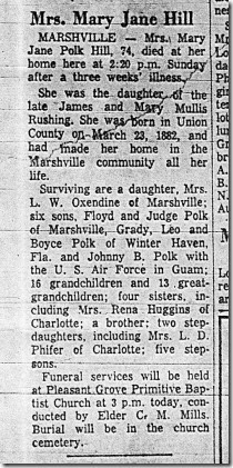 Mary Jane Polk Hill 1882-1956 obit