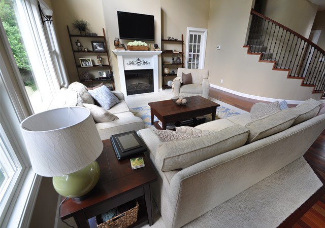 Two Story Living Room, Sherwin Williams Macadamia