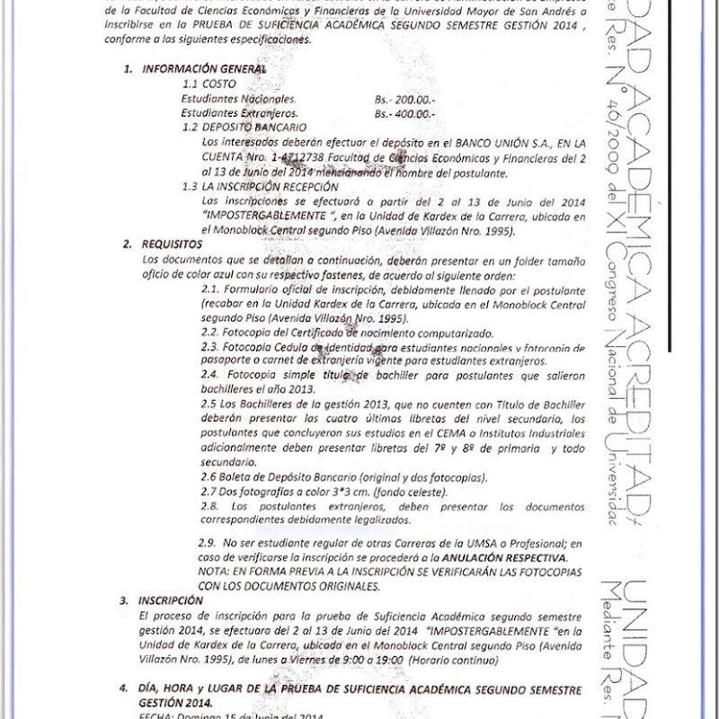 Administración de empresas de la UMSA: Convocatoria para Prueba de Suficiencia Académica 2014