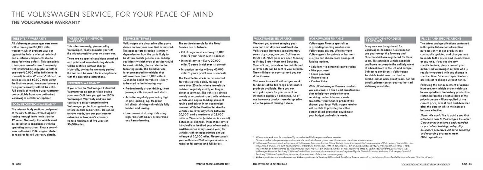 vw golf brochure 2013 pdf