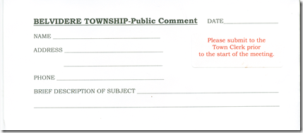 comment sheet belvidere township