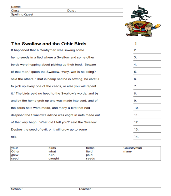 aesop worksheet