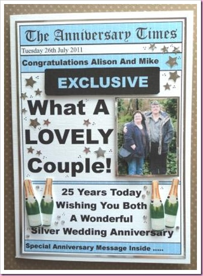 Silver Anniversary Newspaper Card
