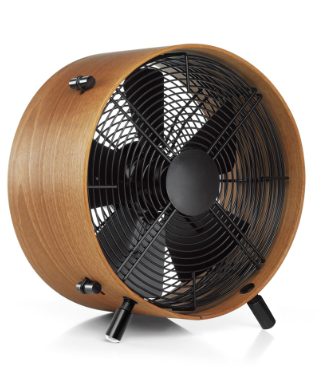 This fan will add some modern design to your home.  The wooden barrel and black interior make it far superior to boring white plastic models. 