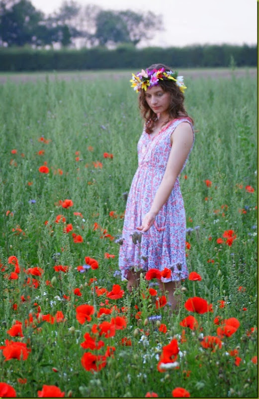 dloral dress in a wildflower field