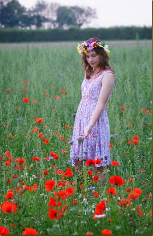 dloral dress in a wildflower field