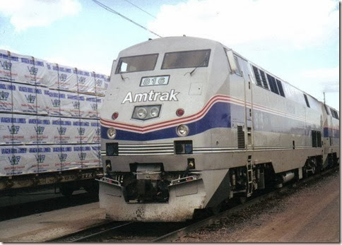 Amtrak P40DC #816 in Havre, Montana in March 2000