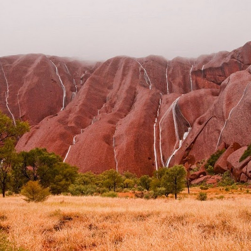 Waterfalls on Uluru: A Rare Sight