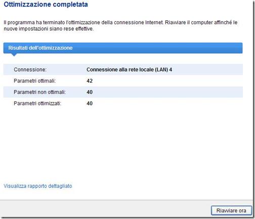 Auslogics Internet Optimizer Risultati dell'ottimizzazione