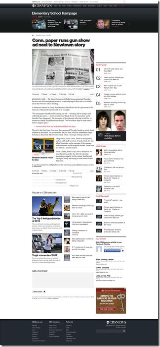 Conn. paper runs gun show ad next to Newtown story - CBS News_1357264885917