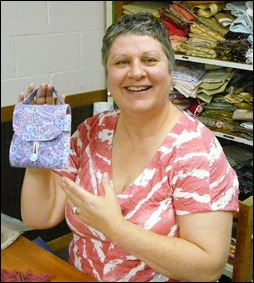 Kayt with her mug bag designed by Bronwyn Hayes