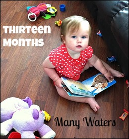 Many Waters Reading Books at Thirteen months
