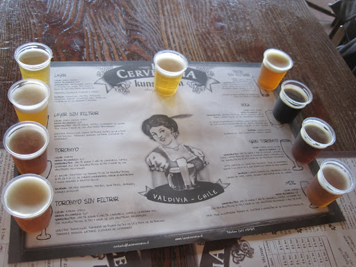 Sampling La Cervezeria Kunstmann's different beers.