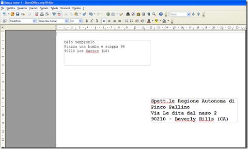 Come stampare su una busta da lettera con openoffice for Indirizzo postale