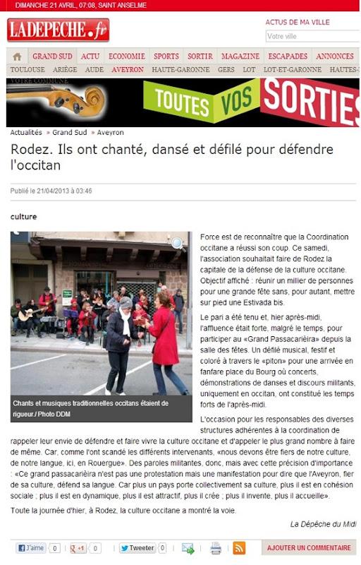 Manifestacion de rodés La Dépêche du Midi