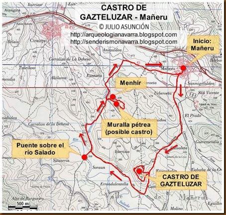 Mapa ruta Castro Gazteluzar - Mañeru