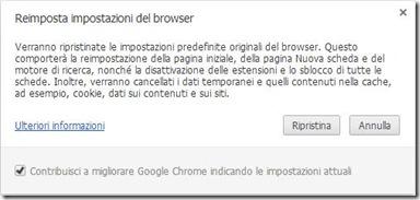 Elenco azioni reset di Chrome