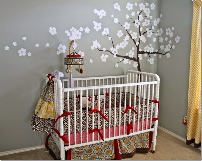 baby-nursery-room-designs-floral-wall-decor-cute-baby-nursery-design