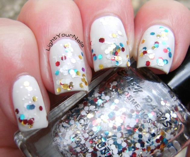 Nyx Matte White + Easy Paris glitter #18
