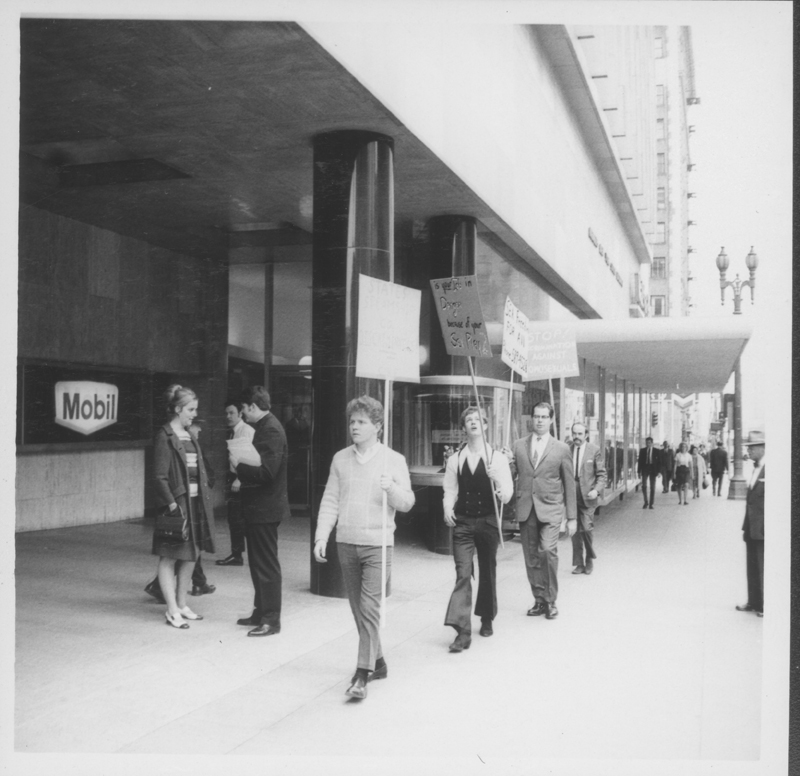 State Steamship Lines protest with Reverend Troy Perry with Jim Kepner. Circa May 1969.