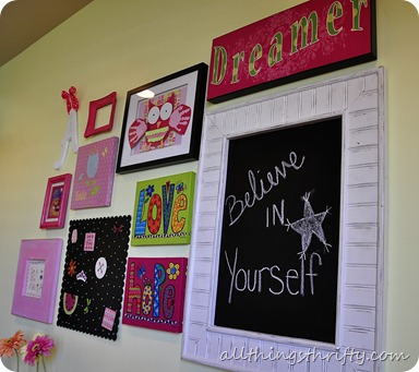 gallery wall in girls room
