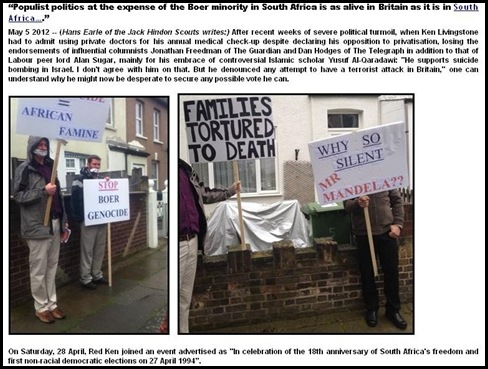 BOERS IN EXILE STORY PROTEST 27APR2012 LONDON JACK HINDON SCOUTS