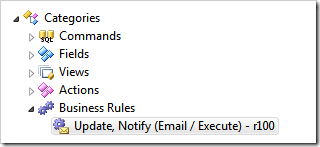 An email business rule selected in Project Designer of Code OnTime app generator.