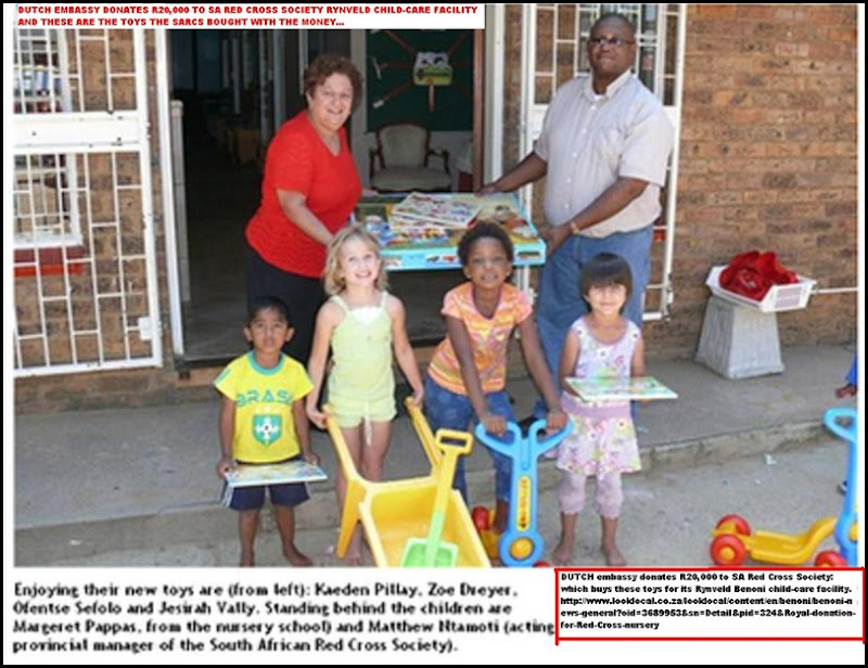 Dutch embassy R20D donation to SARCS Rynfield Benoni nursery buys few plastic toys