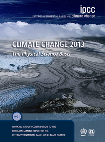 Cover of 'Climate Change 2013: The Physical Science Basis', the Fifth Assessment Report (AR5) by IPCC. Graphic: IPCC Working Group I