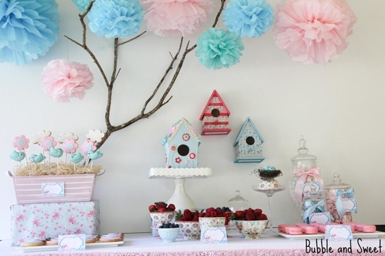 birdhouse party sweet birdie tweet dessert buffet bubble and sweet
