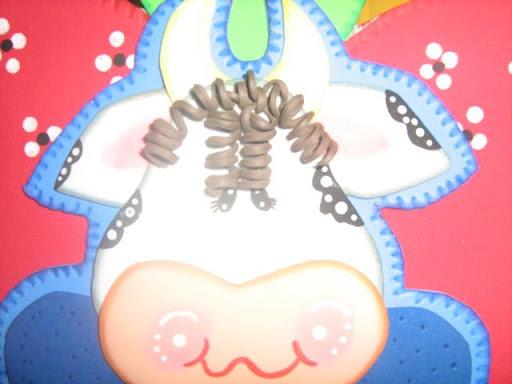 carita de la vaca de manzana.... con fomi tiritas se hace el pelo de ...
