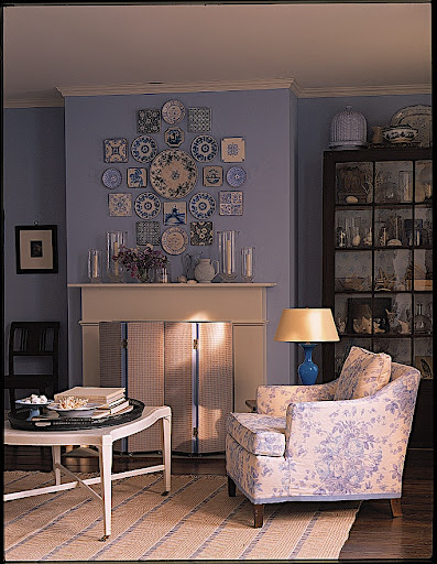 An overall view of the blue living room display.