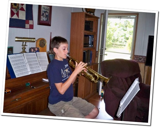 Christian playing trumpet