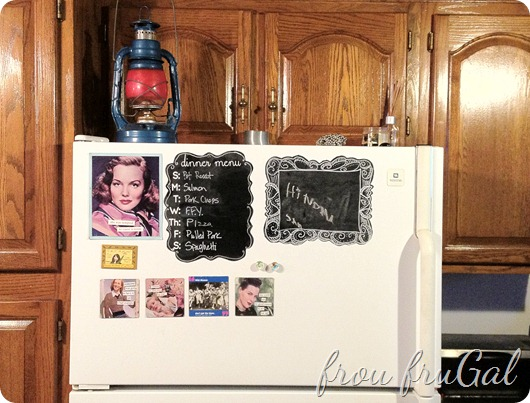 Fridge with Chalkboard Dinner Menu &amp; Frame