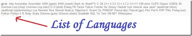 list of languages