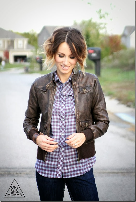 Plaid, leather jacket, dark denim and tall boots