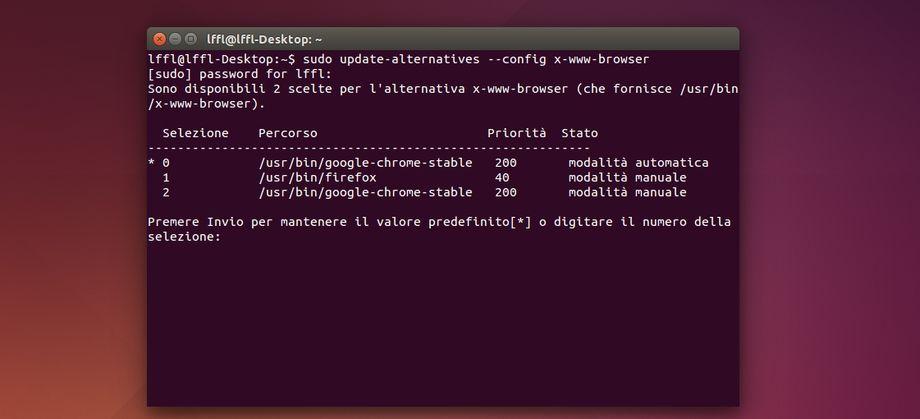 Ubuntu impostare browser da terminale