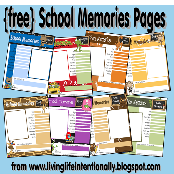 free printable school memory pages