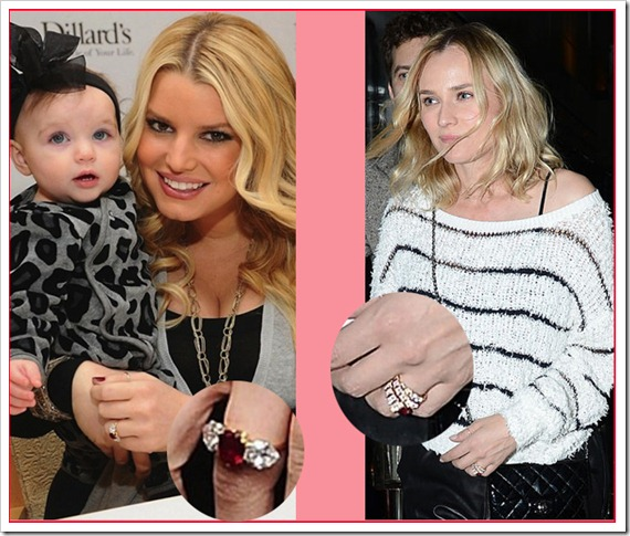 Jessica Simpson and Diana Kruger Ruby Rings