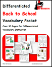 Differentiated Back to School Vocabulary Packet for English Language Learners - FREE